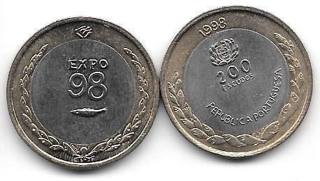 Moneda Portugal Bimetalica 200 Escudos Año 1998 Expo 98