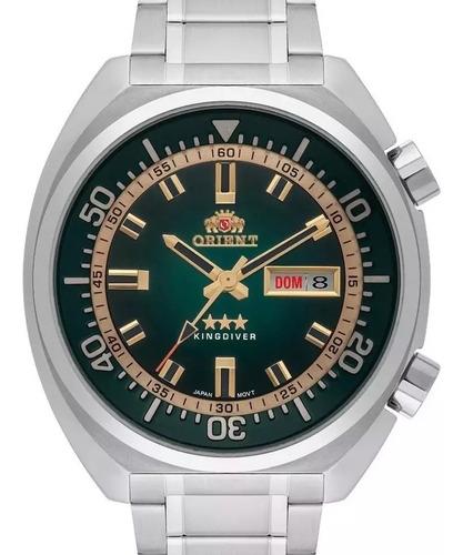Relógio Orient Masculino Prata  Automático Fundo Verde