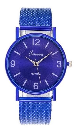 Relógio Geneva Quartz Azul Feminino + Brinde Especial