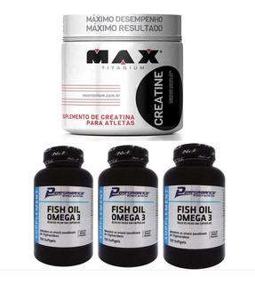 Creatina 300g Max+ 3x Fish Oil Omega 3 100 Cáps Soft Perform