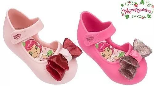 Sapatilha Infantil Moranguinho Grendene Baby Aplique De Laço No Cabedal E Fecho Em Velcro, Palmilha Estampada Conforto