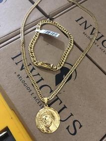 Kit Elos Duplos:cordão 4mm 70cm + Pulseira 7mm Banhados Ouro