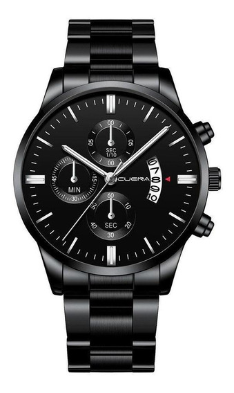 Relógio Masculino Black Motion Aço Inox Quartz Prateado