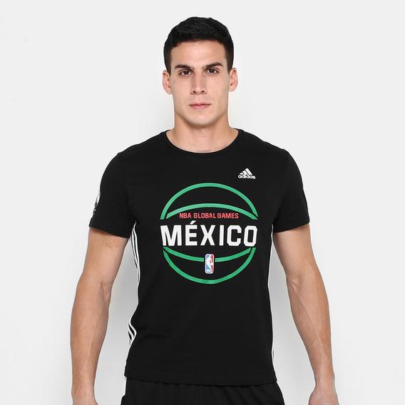 Playera adidas Nba Global Games México. - Negro Y Blanco