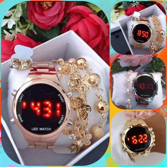 Kit 5 Relógios Digital Led Feminino+pulseira E Caixinha