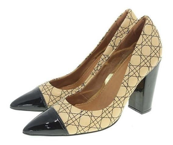 Sapato Feminino Scarpin Parô Nude Couro Texturizado