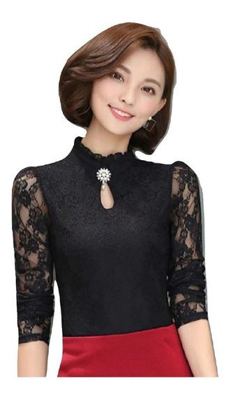 Blusa Japonesa Elegante Casual,encaje Sexy,dama,oficina,dama