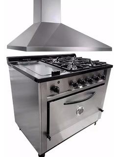 Combo Cocina Depaolo 4h + Plancha + Campana 90cm Ahora 12 18