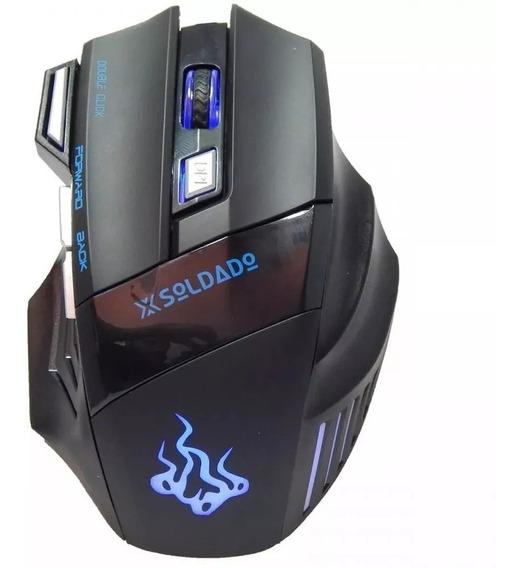 Mouse Gamer Usb 3000dpi 6 Botões X-soldado Gm-700 Preto