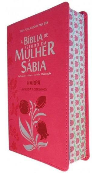 Bíblia De Estudo Da Mulher Sábia Pink Harpa