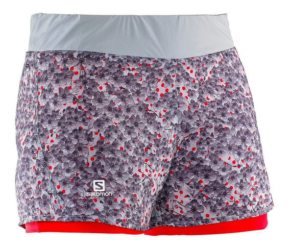 Shorts Salomon Park 2-in-1 Mujer Talla Xs Onix/infrared New