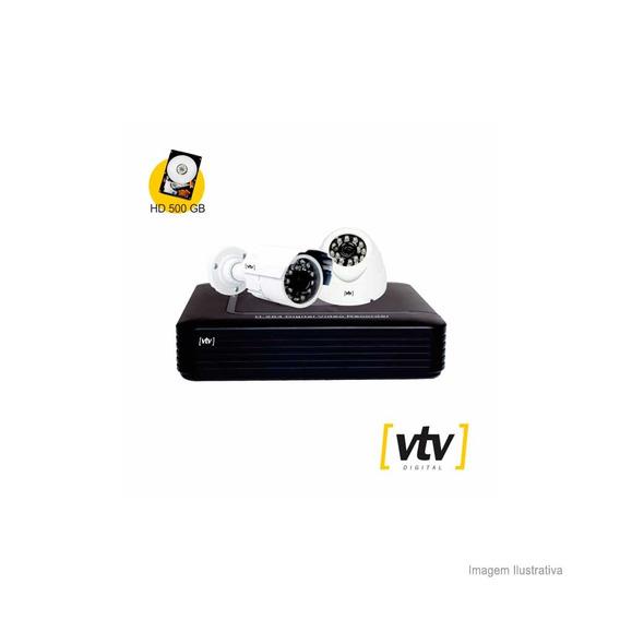 Kit Com Câmera Dome Câmera Bullet Dvr 4ch 720p Até 1.0mp Branco E Preto Vtv Digital Vtv Digital