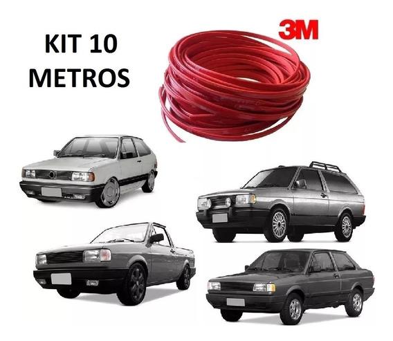 Kit Friso Filete Vermelho Parachoque Gol Quadrado 10 Metros