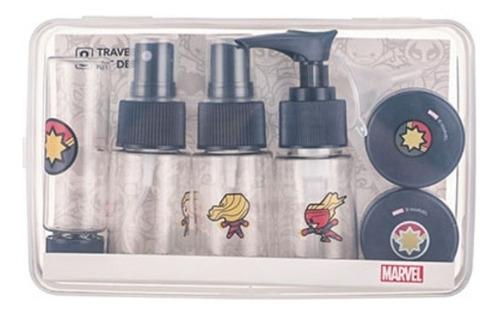Caixa Com Kit De Frascos Para Viagem Miniso - Capitã Marvel
