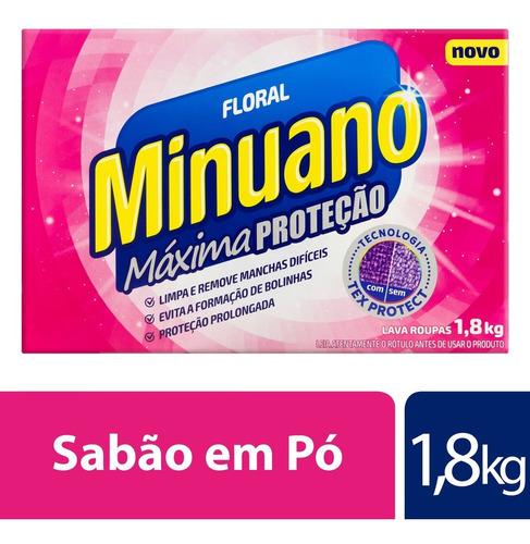 Detergente Em Pó Minuano Floral Máxima Proteção 1,8kg