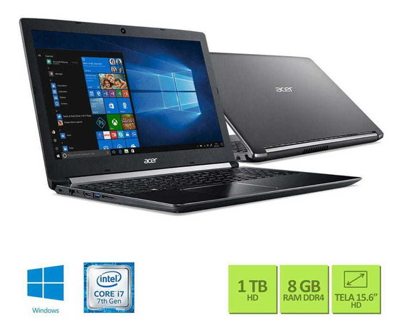 Notebook Acer 15,6 Led A515-51-75rv / I7-7500u/ 8gb/ 1tb/ W