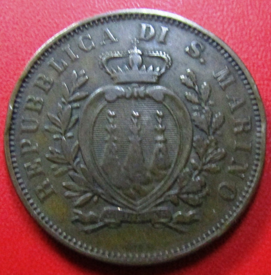 San Marino Moneda 10 Centesimi Cobre 1893 Vf-