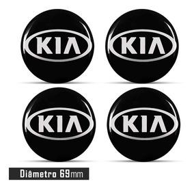 Jogo 4 Emblema Logo Adesivo Roda Kia Preto 69mm Resinado