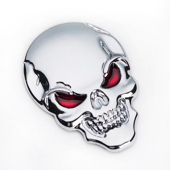 Adesivo Emblema 3d Cranio Caveira Metal Carro Moto Tunning