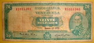 Billete De 20 Bs 1970 R7