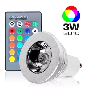 Lampara Led Dicroica Rgb Luz Colores 3w Gu10 Foco Efectos