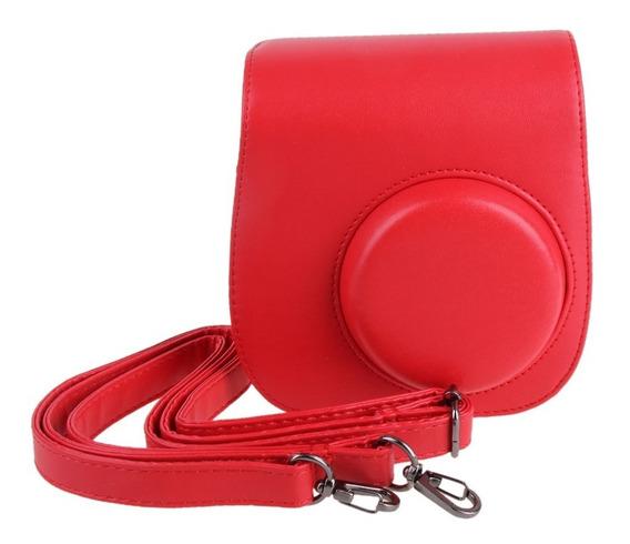 Bolsa Couro Sintético Alça Câmera Instax Mini 7 8 9 Vermelha