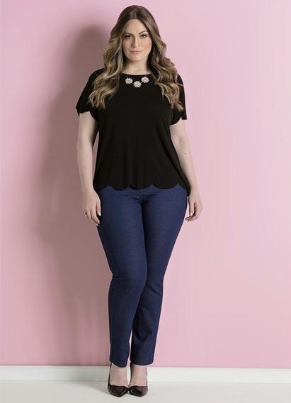 Calça Jeans Skinny Cintura Alta Plus Size