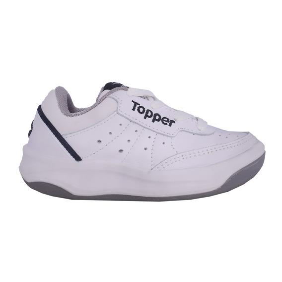 Zapatillas Topper X Forcer Kids Colegial 100% Cuero Natural