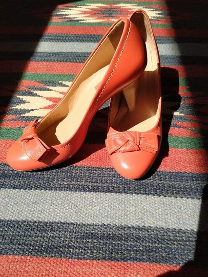 Sapato Salto Alto Laranja Couro Casual Shoestock Primavera