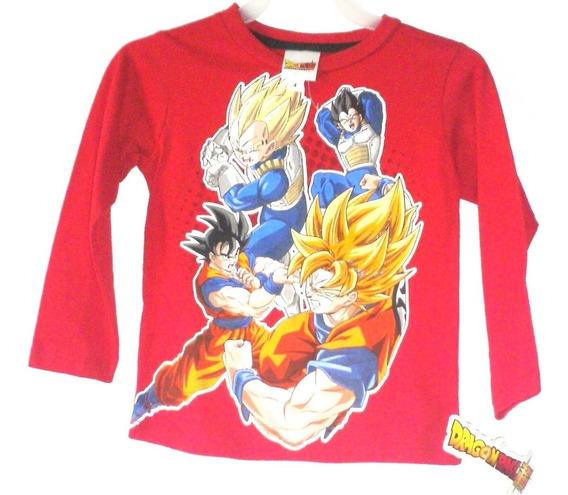 Camiseta Playera Bebe Kakaroto Ssj Dragon Ball Z Niño(a) Manga Larga Goku Original Talla 4 Años Liquidacion $259a