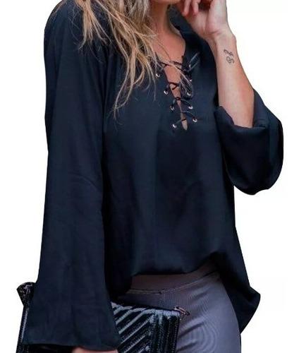 Blusa Camisa Feminina Decote Ilhos Manga Longa Flare Cordão