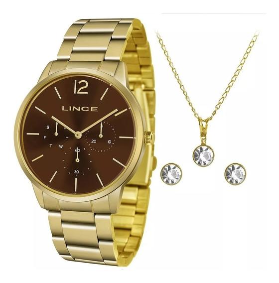 Kit Relógio Lince Feminino Dourado Lmgj087l N2kx + N. Fiscal