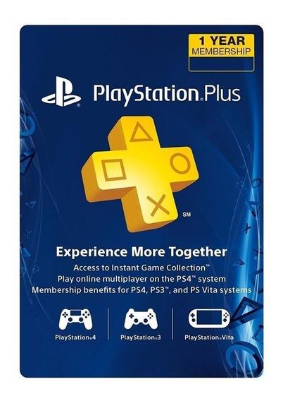 Psn Plus 12 Meses 1 Año Playstation Ps3 Ps4   Psntech