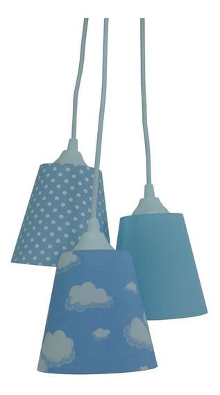 Lustre Pendente Infantil Nuvens Tons De Azul E Branco