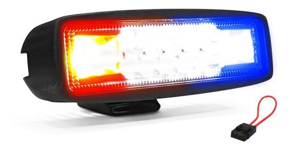 Farol De Led Strobo E Milha Automotivo 48w 15cm P Moto Viatura C Centro Branco + Lateral Azul Vermelho Tp Giroflex - Und