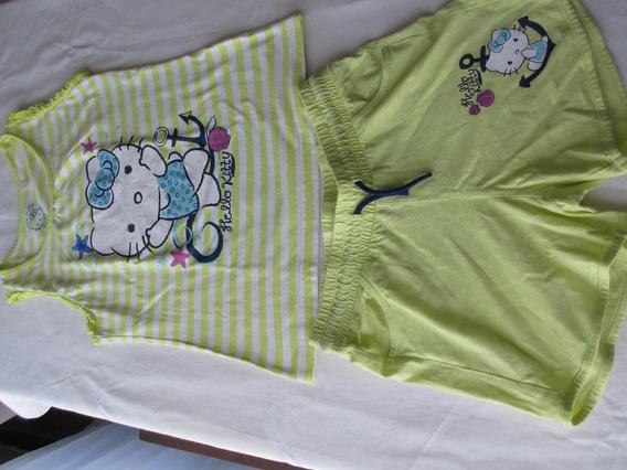 Remera Y Short De Kitty, Para Nena, Marca Europea!!!, Dos Po