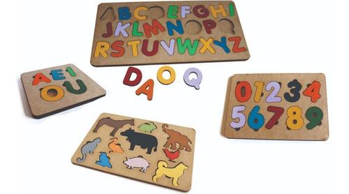 Imagem 1 de 5 de 4pçs Tabuleiro Alfabeto+números+vogais+bichos