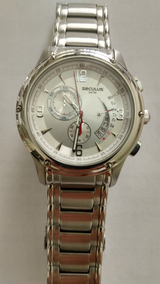 Relógio Seculos Masculino Prata Cronografo 5 Atm