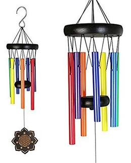 Deerbird Colorful Wind Chimes De Madera Con Conchas De Metal
