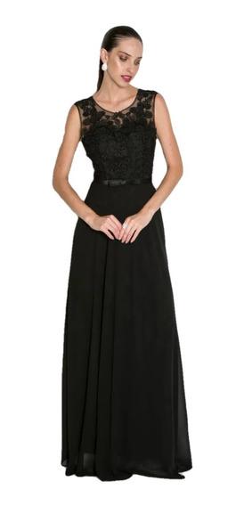 Vestido Formatura Festa Longo Preto Rendas Lindoo