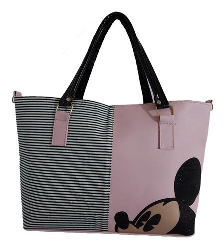 Imagen 1 de 6 de Bolsa De Mano De Dama, De Disney, Mickey Mouse En Color Rosa