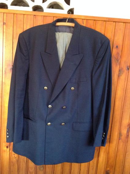 Conjunto Saco Azul Cruzado Pantalón T.58 Imperdible Estado