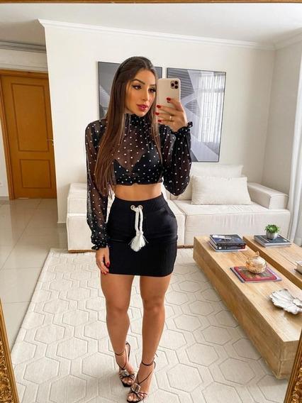 Conjunto Short Com Blusa Moletom Moda Blogueira Chiq