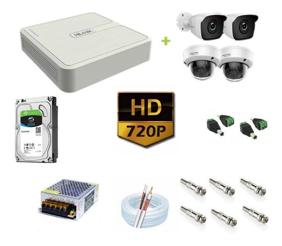 Kit Cftv 4 Câmeras Hd 720p 1mp 20m Dvr Hikvision 1tb