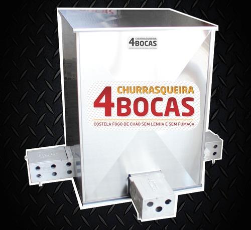 Churrasqueira 4 Bocas Inox Kit 3 Espetos + Frete