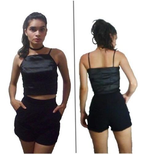 Cropped Cetim Shorts Sarja Conjunto Feminino Preto