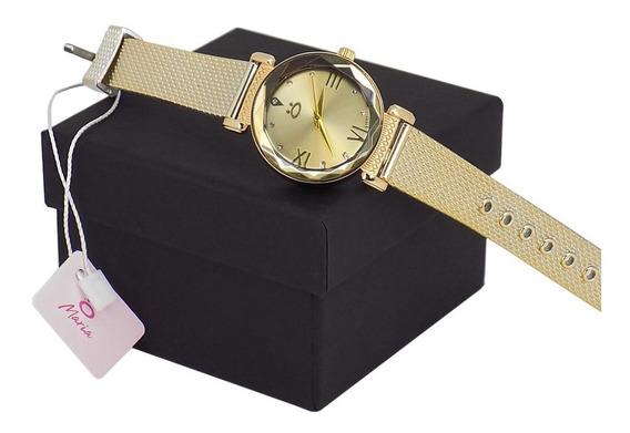 Relógio Feminino Analógico Dourado Pulseira Courino - 1 Rmb1