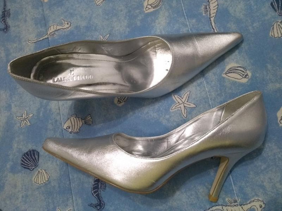 Sapato Scarpin Bico Fino Salto Alto Prata