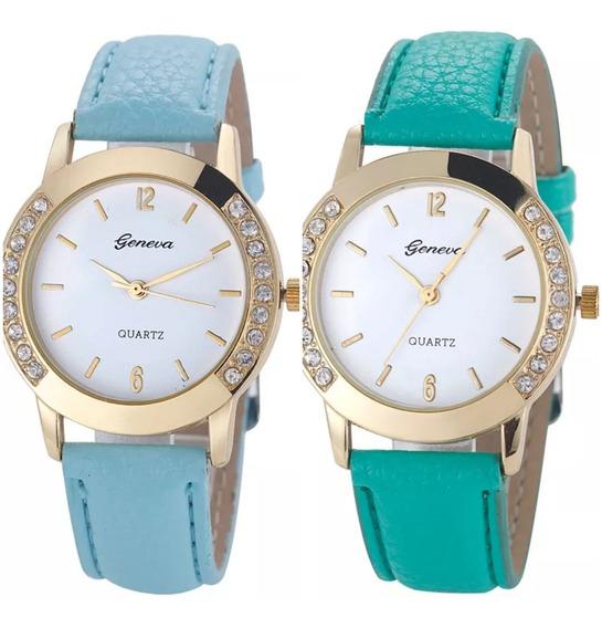 Promoção Kit 2 Relógio Luxo Feminino Quartzo Geneva