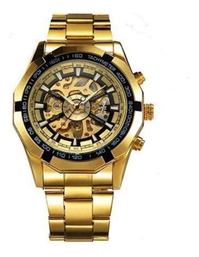 Relógio Esqueleto, Dourado, Automatico,luxo, Maquinario